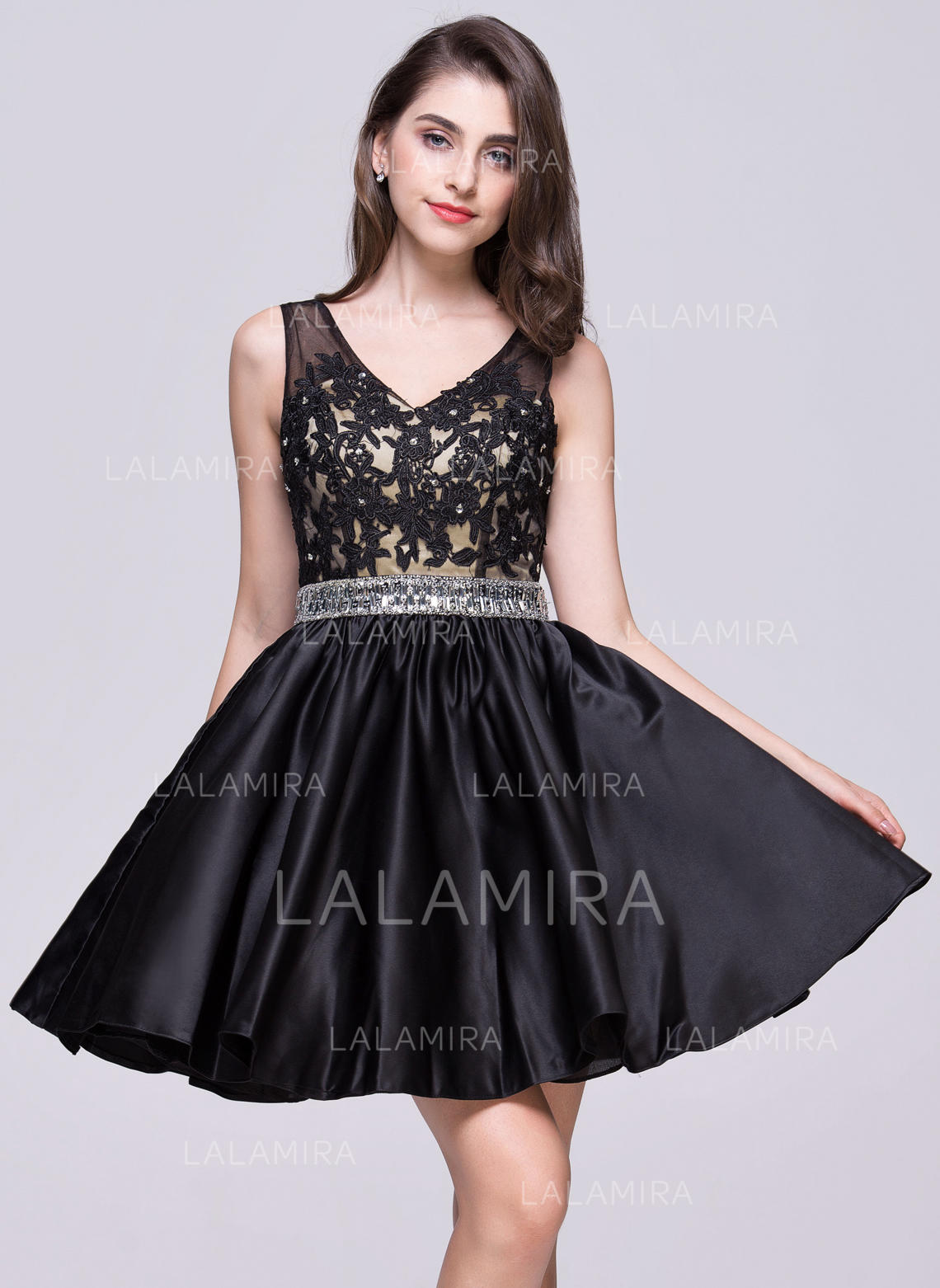 7215aa352cfb A-Line/Princess Short/Mini Homecoming Dresses V-neck Satin Sleeveless (. Loading  zoom