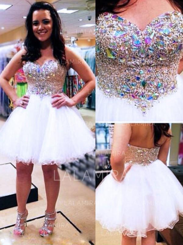 flattering tulle homecoming dresses a-line/princess knee-length sweetheart sleeveless