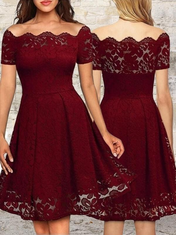 63441fd466d A-Line Princess Lace Cocktail Dresses Ruffle Off-the-Shoulder Short Sleeves.  Loading zoom