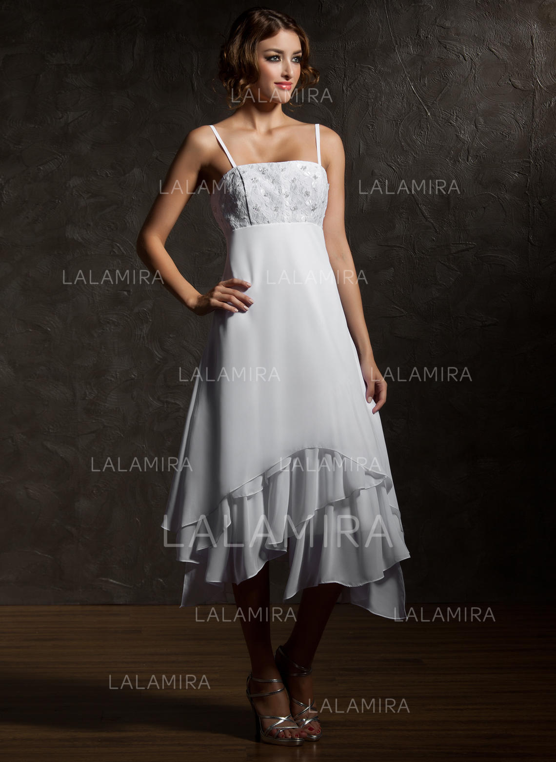 Empire asymmetrical wedding dresses with lace cascading for Empire wedding dresses uk