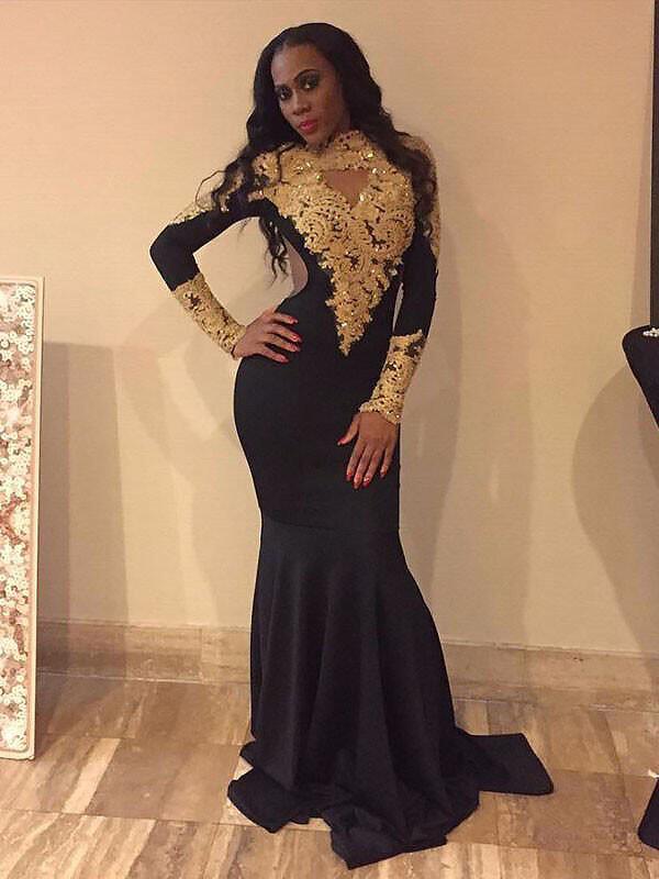 a2e82f5e2e3 Trumpet Mermaid Satin Prom Dresses Stunning Sweep Train High Neck Long  Sleeves (018210242). Loading zoom