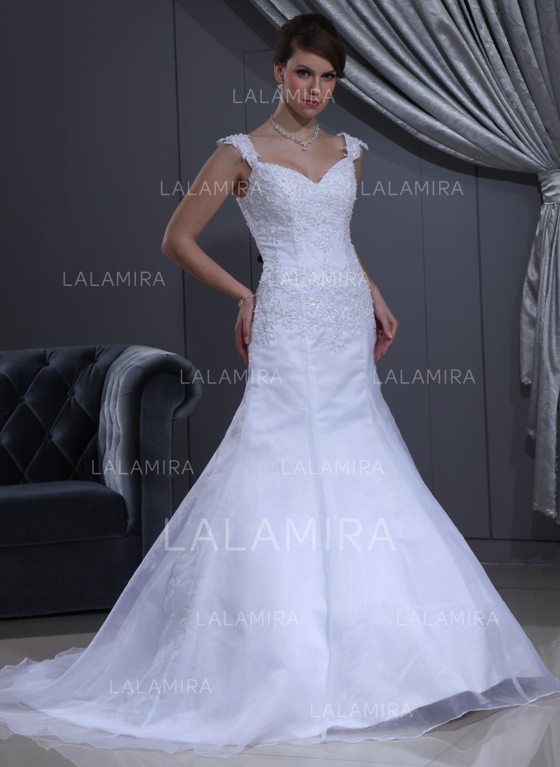 34fdc89599 Sweetheart Trumpet Mermaid Wedding Dresses Satin Organza Lace Beading  Sleeveless Chapel Train (002213221). Loading zoom