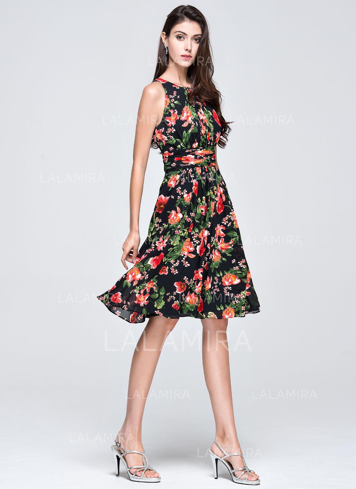 Zipper Up Chiffon Prom Dresses