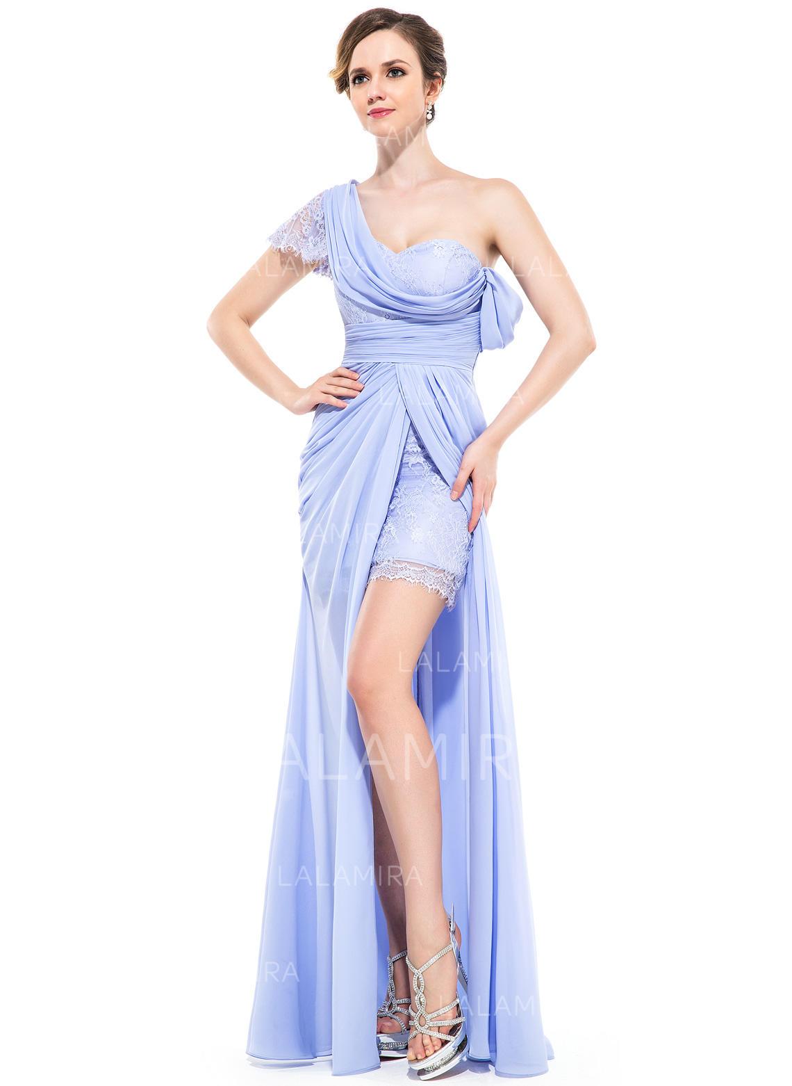 b0cf690d402 A-Line Princess Chiffon Prom Dresses Ruffle Split Front One-Shoulder Short  Sleeves. Loading zoom