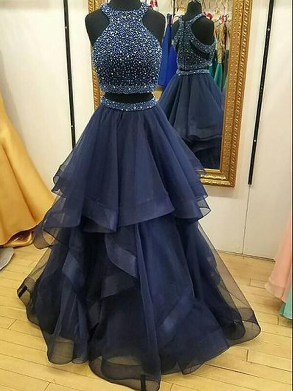 c48e6293340 A-Line Princess Tulle Prom Dresses Ruffle Beading Sequins Halter Sleeveless  Floor-Length. Loading zoom