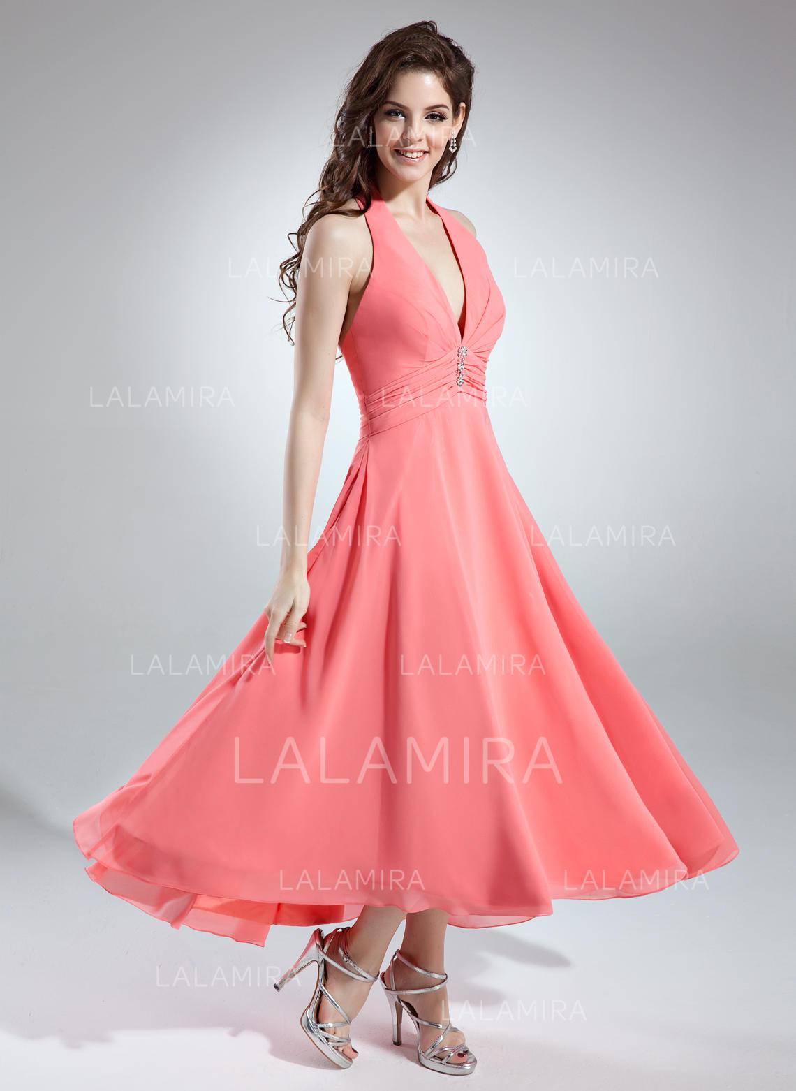 222993017c73c A-Line/Princess Chiffon Bridesmaid Dresses Ruffle Beading Halter Sleeveless  Asymmetrical (007001145). Loading zoom