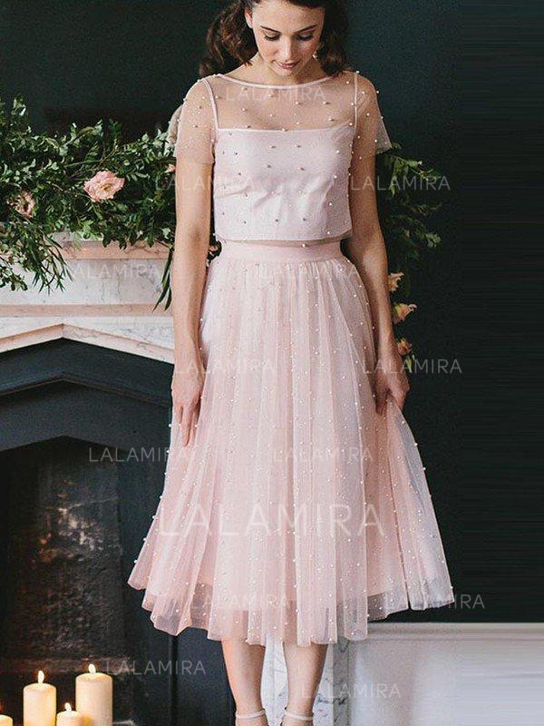 2b9890b7896 A-Line Princess Tea-Length Homecoming Dresses Scoop Neck Tulle Short Sleeves  (. Loading zoom