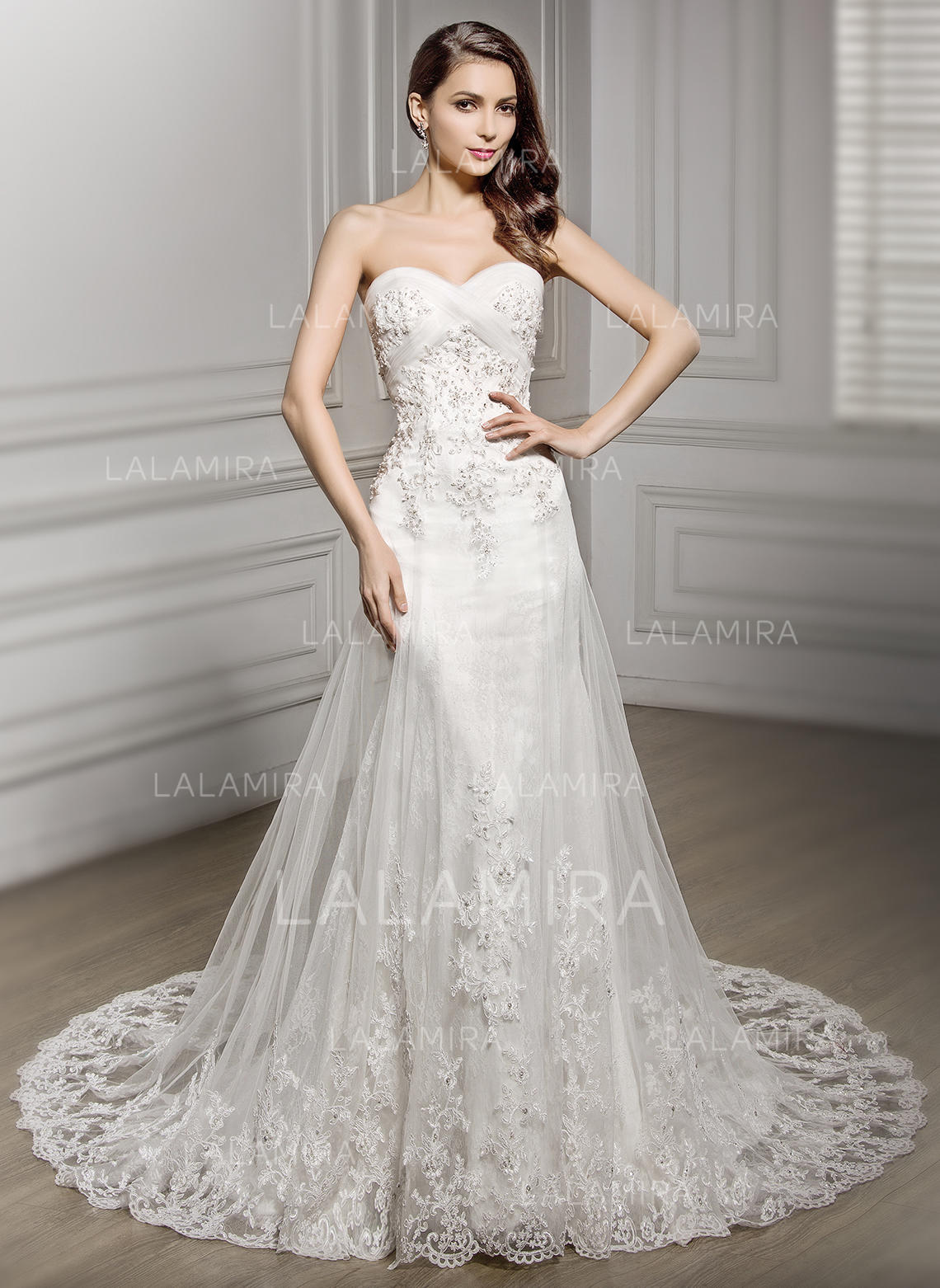 502ba4dc5e5 Strapless Sleeveless Sweetheart With Tulle Lace Wedding Dresses  (002210585). Loading zoom