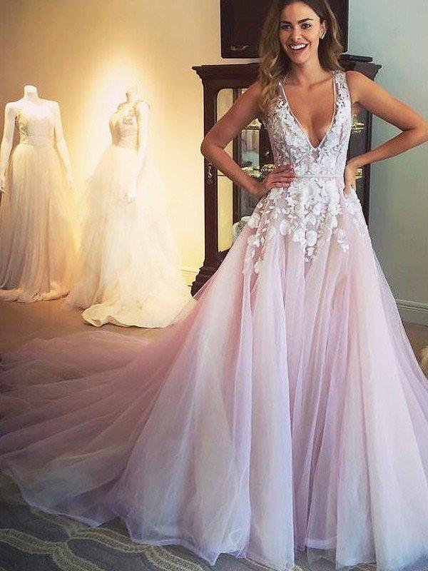 02add56e994 Sweep Train Tulle Prom Dresses With A-Line/Princess V-neck (018210928.  Loading zoom