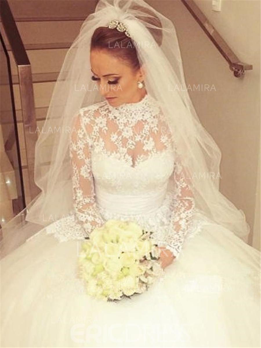 Ball-Gown High Neck Cathedral Train Wedding Dresses With Beading Bow ...