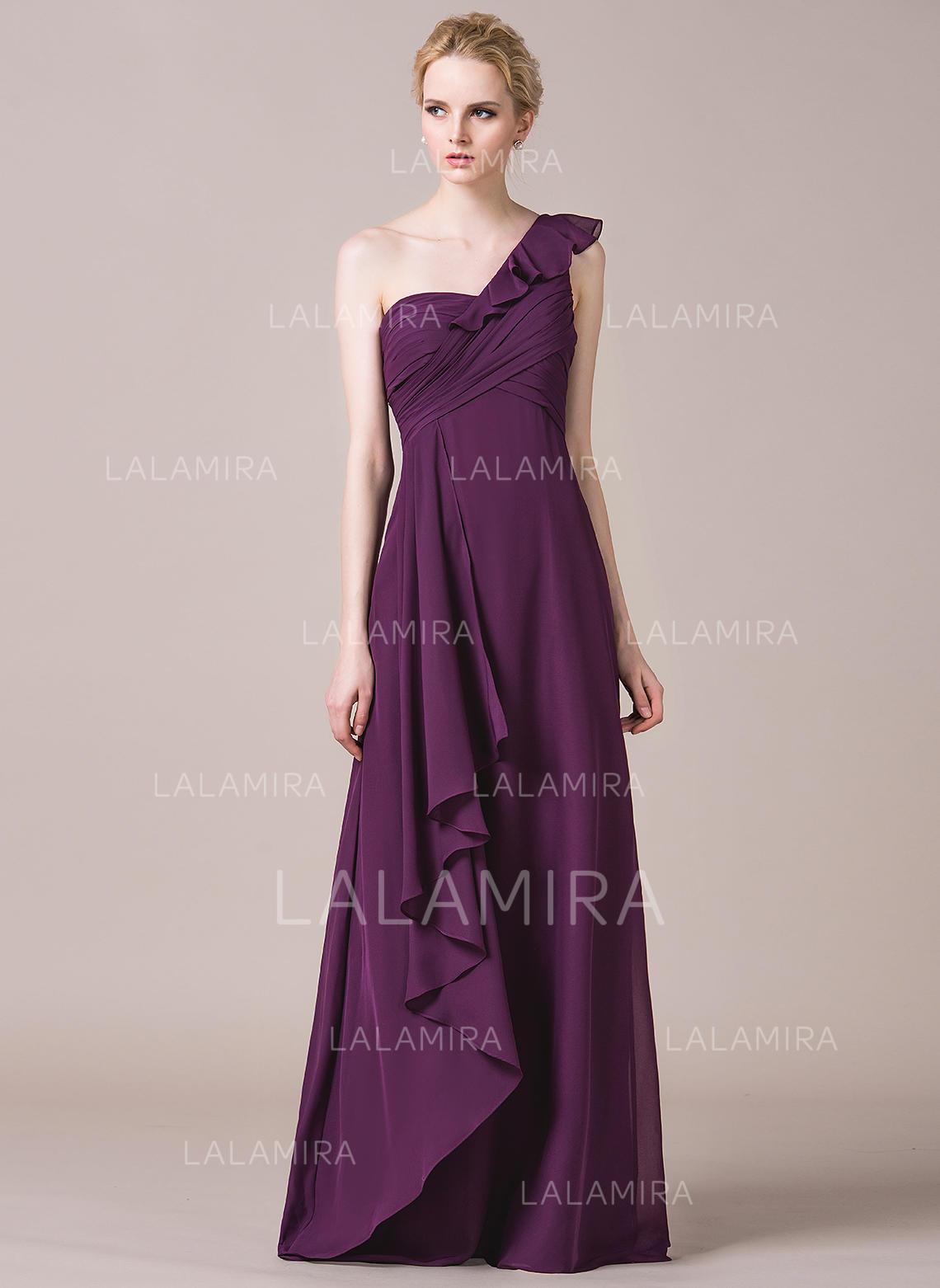 6c20c623e5ed5 A-Line/Princess Chiffon Bridesmaid Dresses Cascading Ruffles One-Shoulder  Sleeveless Floor-. Loading zoom