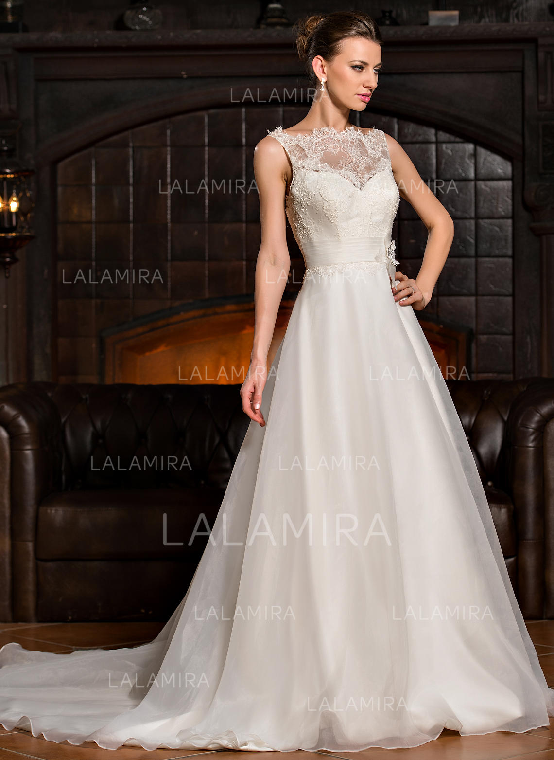Scoop A Lineprincess Wedding Dresses Organza Lace Ruffle Flowers