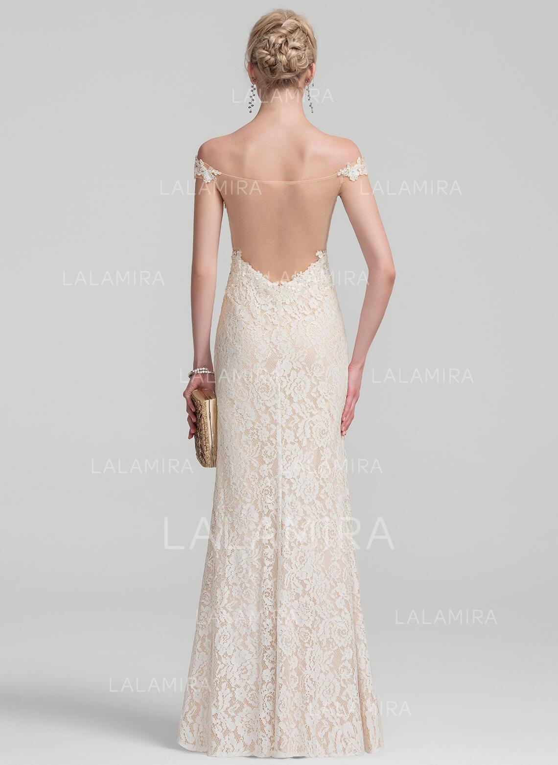 Off-the-Shoulder Floor-Length Lace Evening Dress