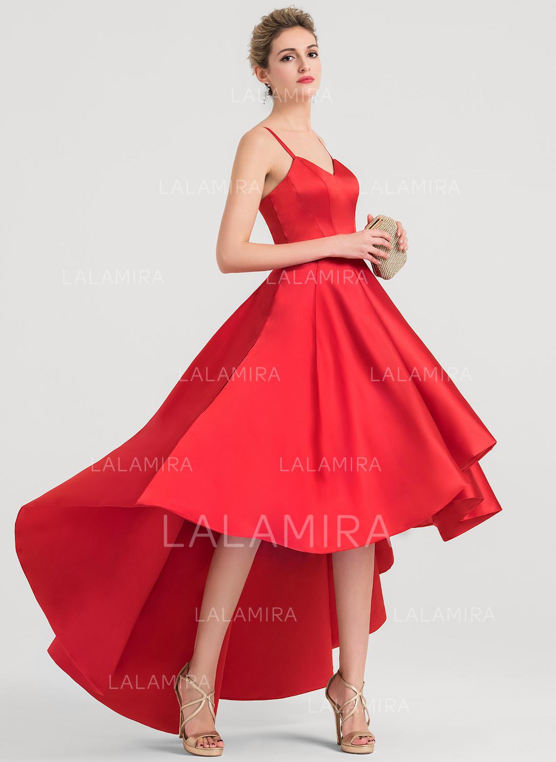 7c6a3006a0 A-Line Princess V-neck Asymmetrical Satin Prom Dresses (018157180). Loading  zoom