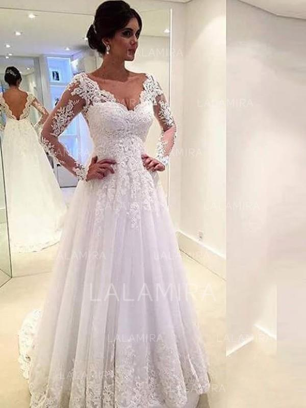 885e9482c45 Vestidos princesa  Formato A Tule Mangas Compridas Em V Cauda longa Vestidos  de noiva (. Loading zoom. Carregando. Cor  Marfim