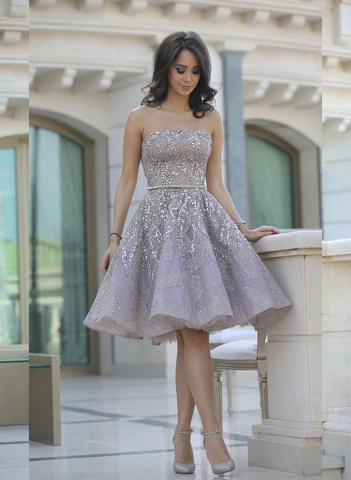 ruffle sash beading strapless with a-line/princess satin cocktail dresses