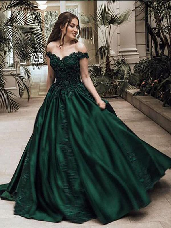 66d7e89a13 Ball-Gown Satin Prom Dresses Simple Sweep Train Off-the-Shoulder Sleeveless  (. Loading zoom