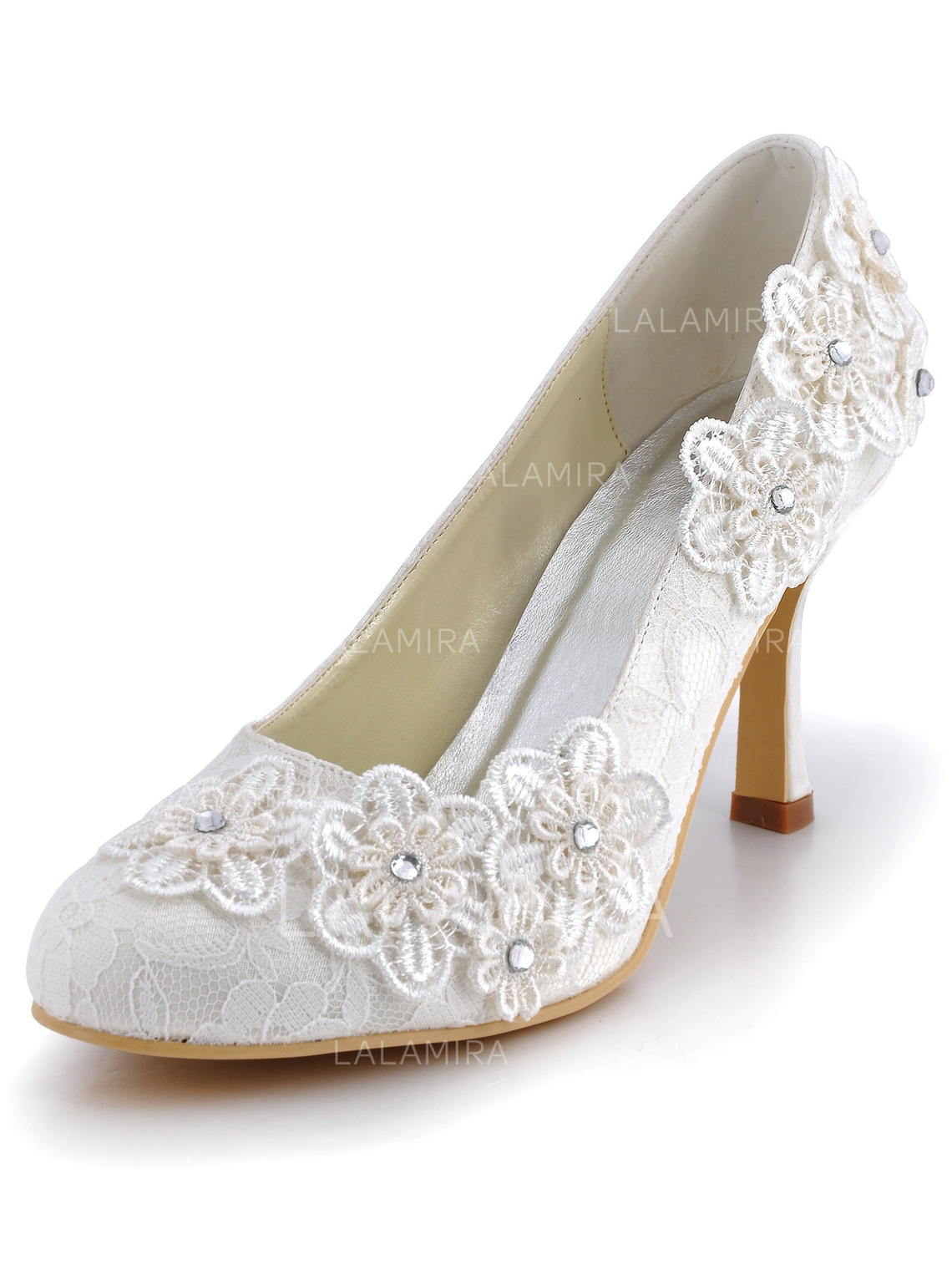 a05e93f30241 Women s Closed Toe Pumps Stiletto Heel Lace With Rhinestone Flower Wedding  Shoes (047203805). Loading zoom