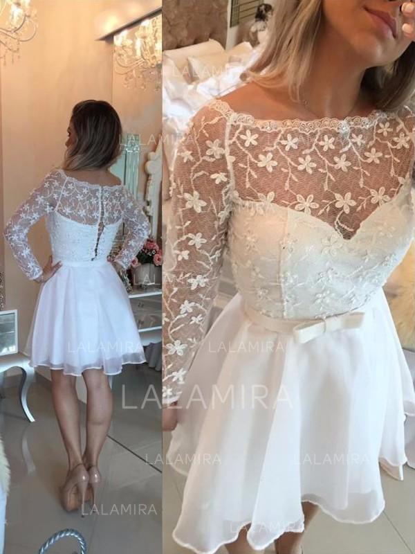 f79fa23116be Stunning Chiffon Homecoming Dresses A-Line/Princess Short/Mini Scoop Neck  Long Sleeves. Loading zoom