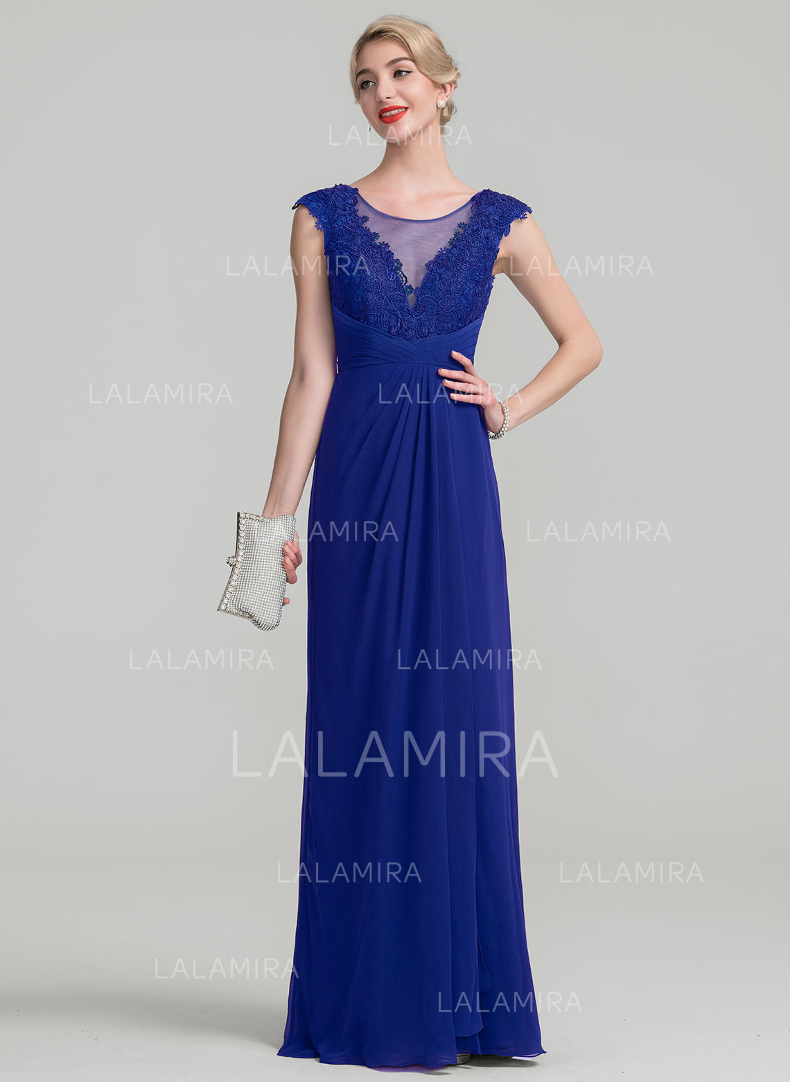 2758e9b1bf9 A-Line Princess Chiffon Lace Sleeveless Scoop Neck Floor-Length Zipper Up  Mother. Loading zoom