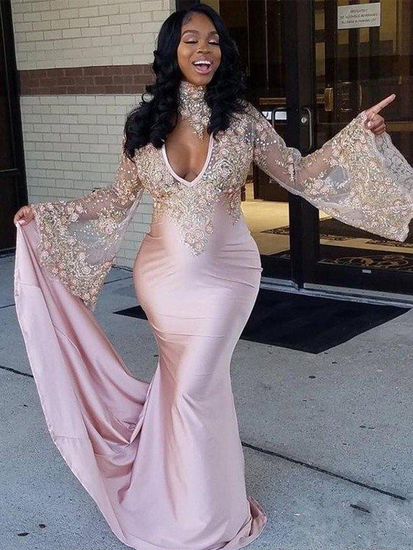 silk like satin glamorous trumpet/mermaid court train prom dresses