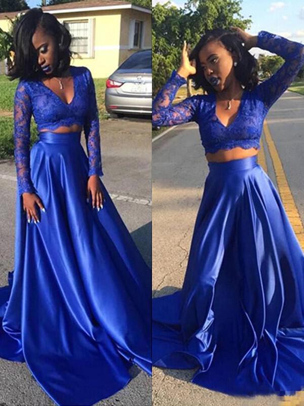 general plus long sleeves v-neck - satin prom dresses