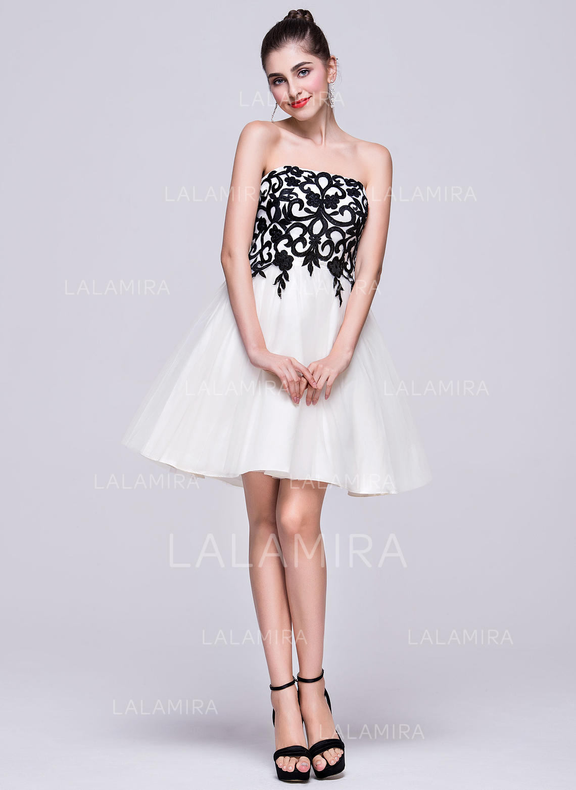 bdf65ae8671 A-Line Princess Short Mini Homecoming Dresses Strapless Tulle Sleeveless  (022214057). Loading zoom