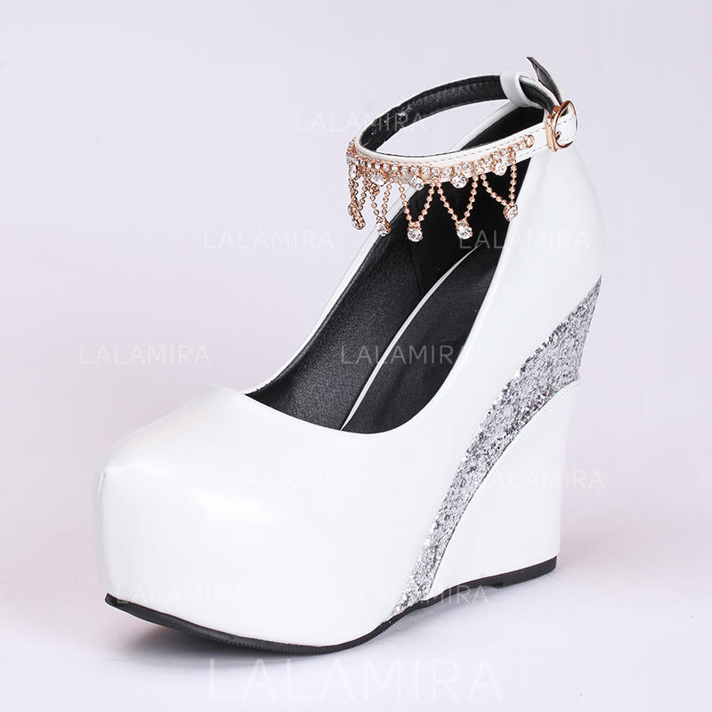 No Heel Wedding Shoes: Women's Wedge Heel Leatherette No Wedding Shoes #208198