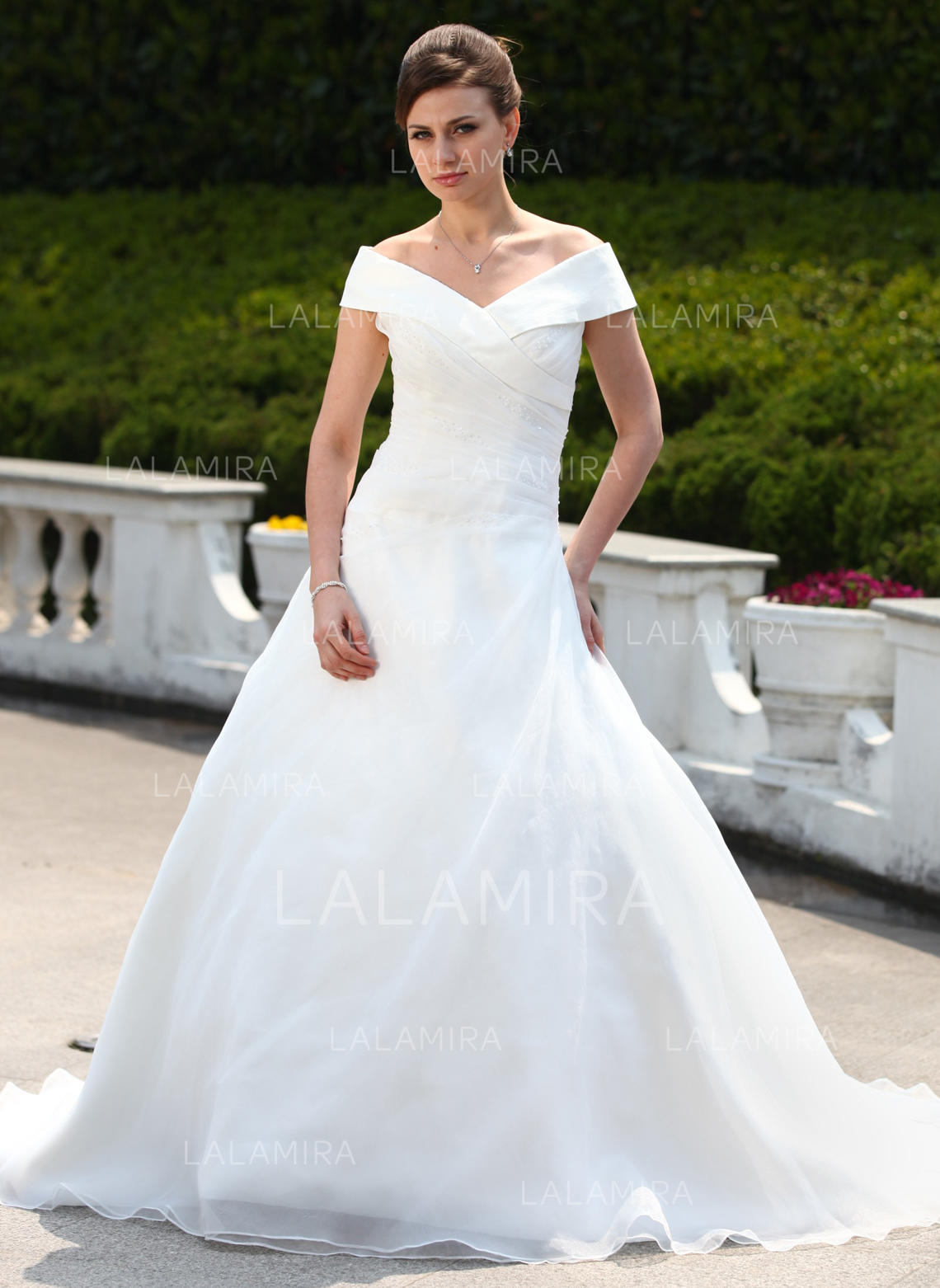 08231d714aa Ball-Gown Off-the-Shoulder Court Train Organza Wedding Dress With Ruffle  Beading. Loading zoom