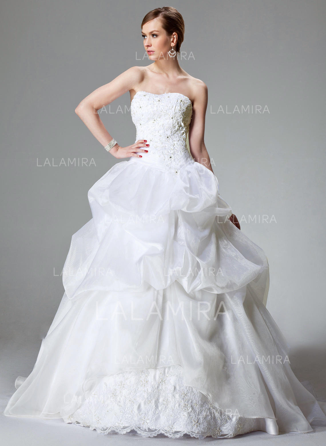 af1f47923c Sweetheart Ball-Gown Wedding Dresses Satin Organza Lace Beading Sleeveless  Chapel Train (002000423)