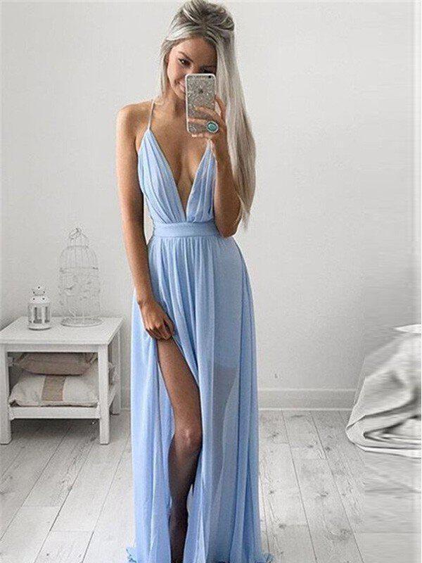 a-line/princess chiffon v-neck spaghetti straps prom dresses