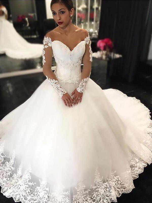 2fcf5311bd31 Stunning Off-The-Shoulder Ball-Gown Wedding Dresses Court Train Tulle Long  Sleeves. Loading zoom