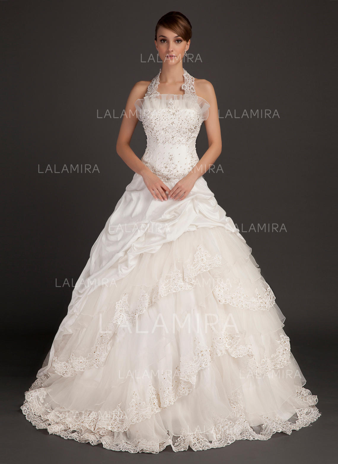Halter Ball Gown Wedding Dresses Taffeta Lace Beading Sleeveless