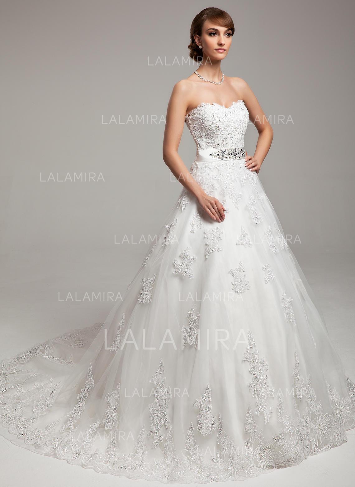 Sweetheart Ball-Gown Wedding Dresses Organza Beading Appliques Bow(s)  Sleeveless Chapel Train. Loading zoom e690751d0