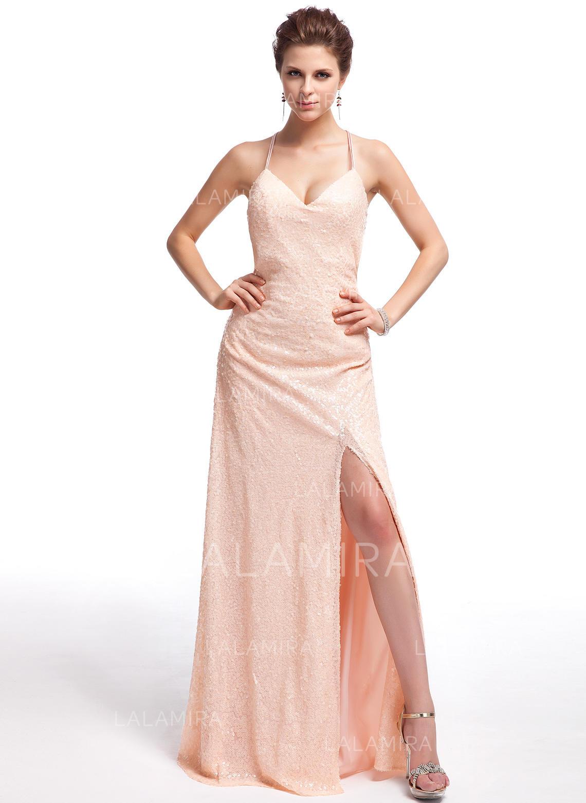 bf320f43398 Forme Fourreau Pailleté Robes de bal Magnifique Longueur ras du sol  Amoureux Sans manches (018210433. Loading zoom