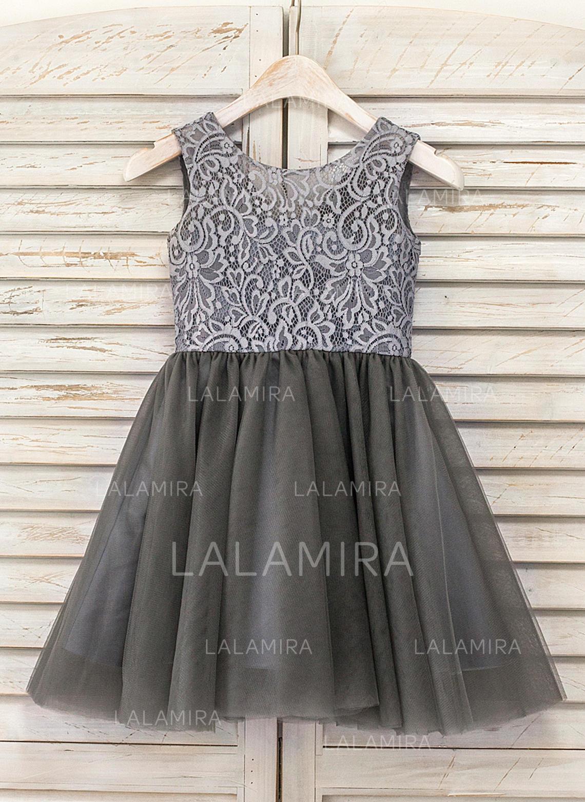 1149ec873e2 A-Line Princess Knee-length Flower Girl Dress - Tulle Lace Sleeveless.  Loading zoom