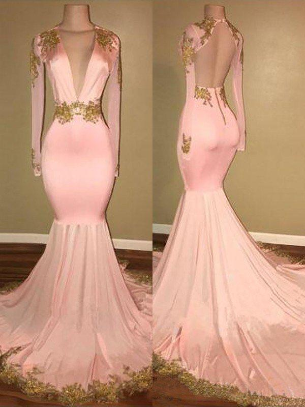258a2a3679b Trumpet Mermaid Satin Prom Dresses Magnificent Sweep Train V-neck Long  Sleeves (018210920. Loading zoom