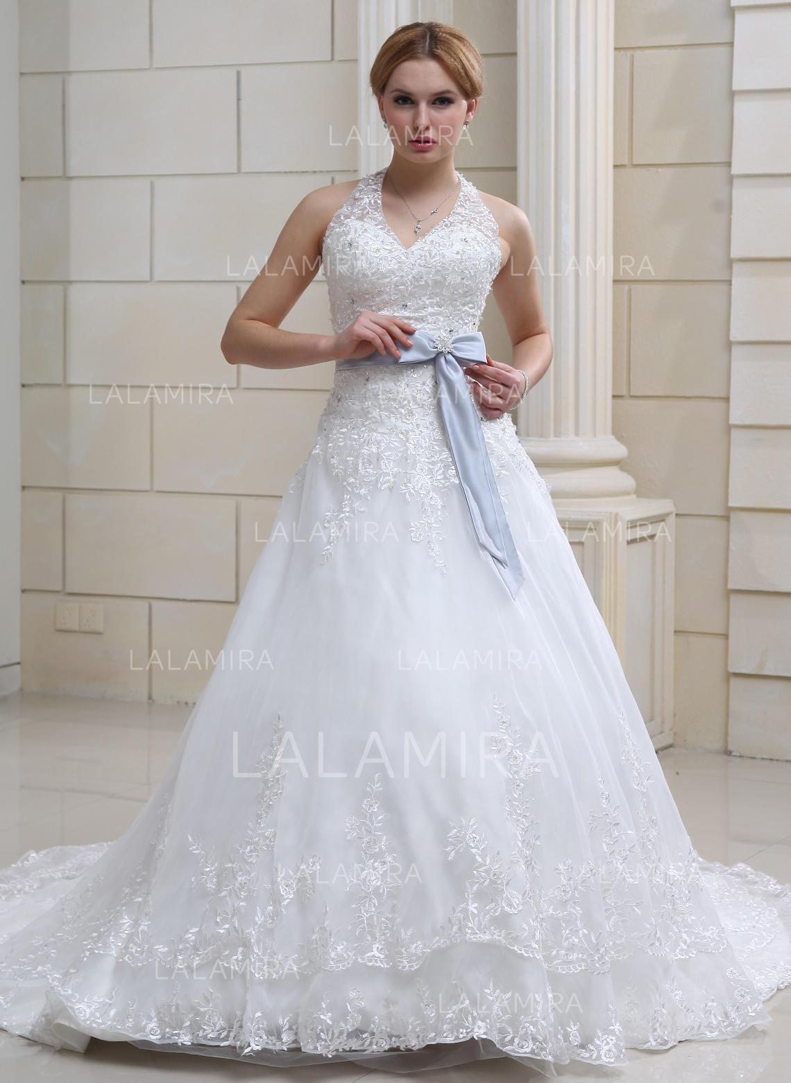 Halter Ball Gown Wedding Dresses Organza Lace Sash Crystal Brooch