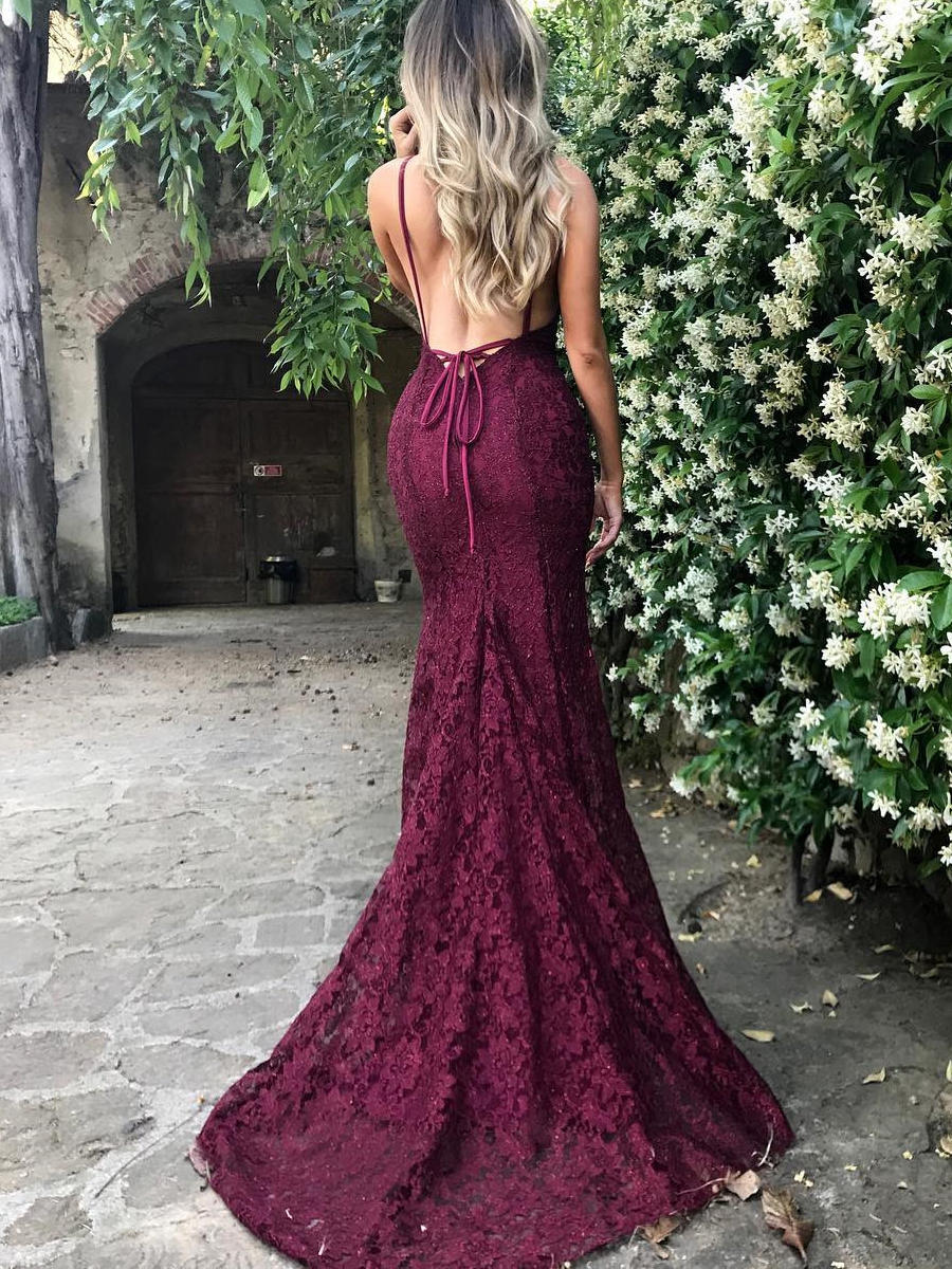 trumpet/mermaid court train prom dresses v-neck lace sleeveless