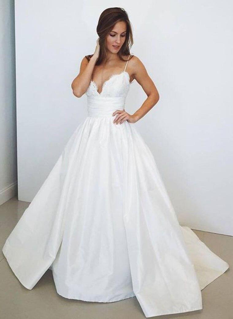 7e5c3759c86b Senaste V-Ringning Balklänning Bröllopsklänningar Sweep släp Taft Ärmlös  (002148082). Loading zoom