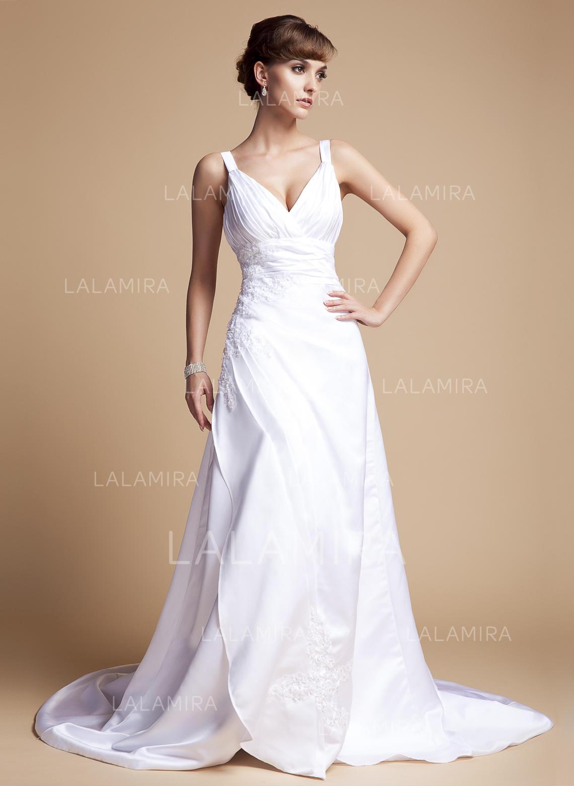 Sweetheart A-Line Princess Wedding Dresses Satin Ruffle Beading Appliques  Lace Sleeveless Court Train. Loading zoom 2d2ba94a1
