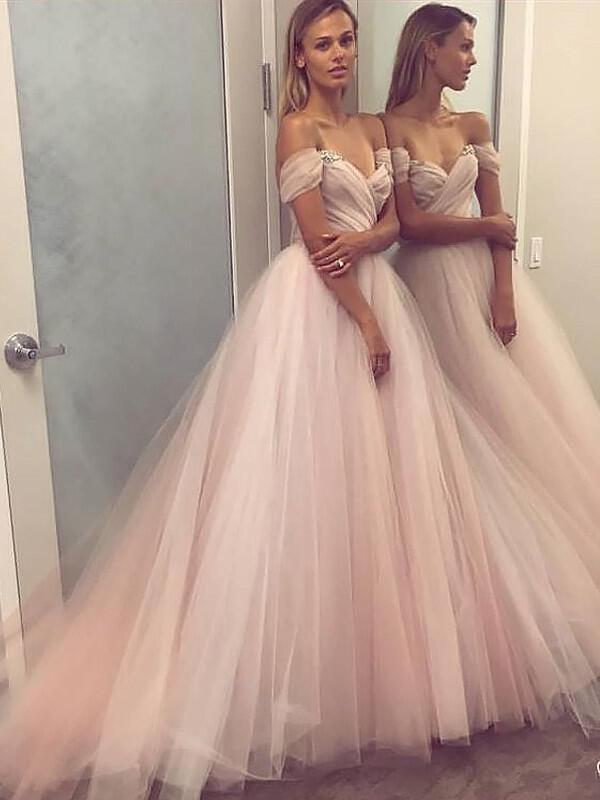 e5bec66e4 Corte A Princesa Tul Vestidos de baile de promoción Cuentas Lentejuelas  Fuera del hombro Sin. Loading zoom
