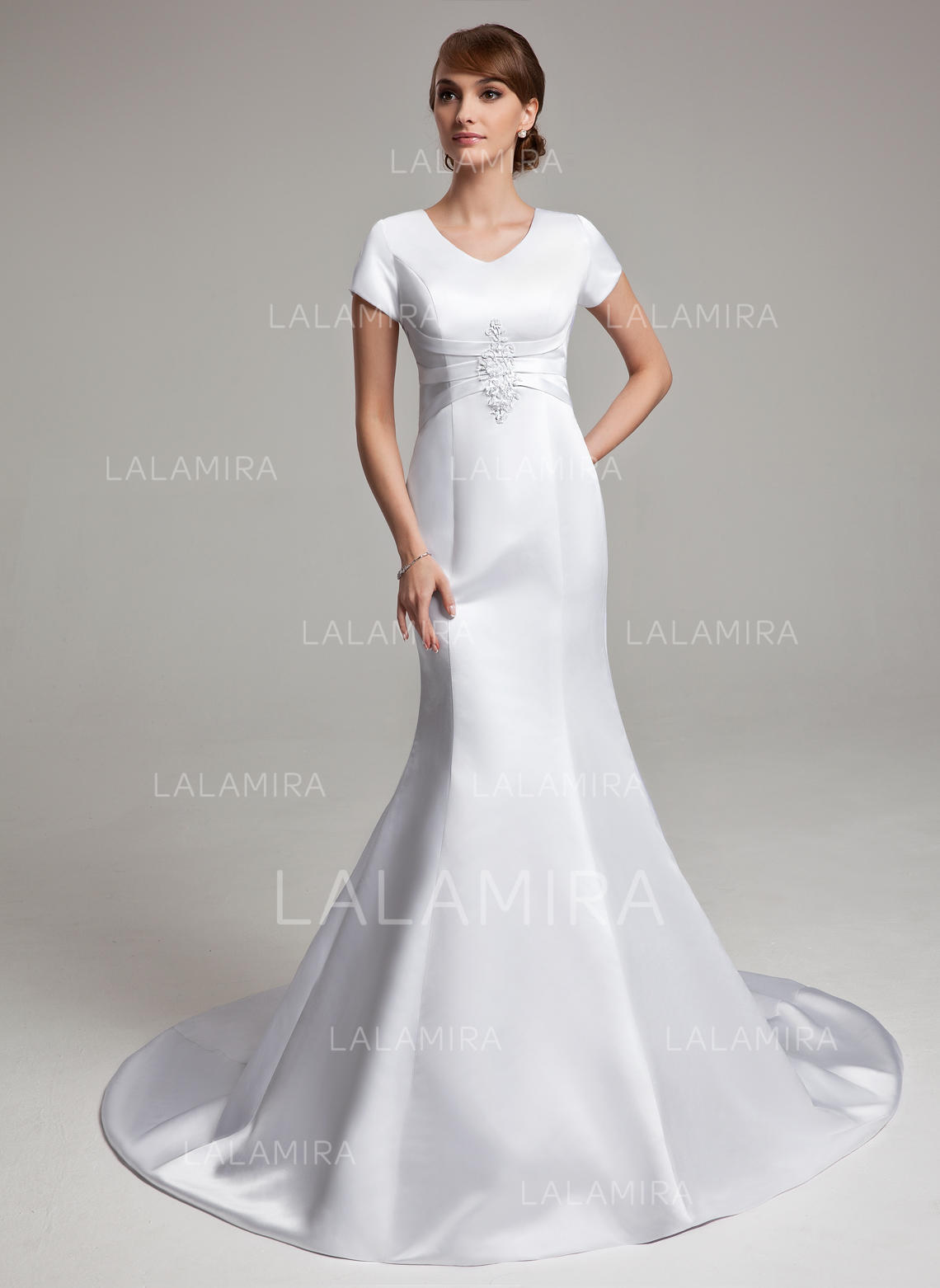 311b900476289 Satin Sleeves Chapel Train Chic Wedding Dresses (002001670). Loading zoom