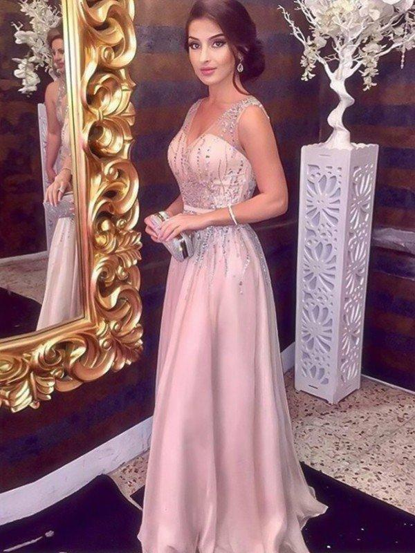 5b3f60c1b52 A-Line Princess Chiffon Prom Dresses Delicate Floor-Length V-neck  Sleeveless. Loading zoom