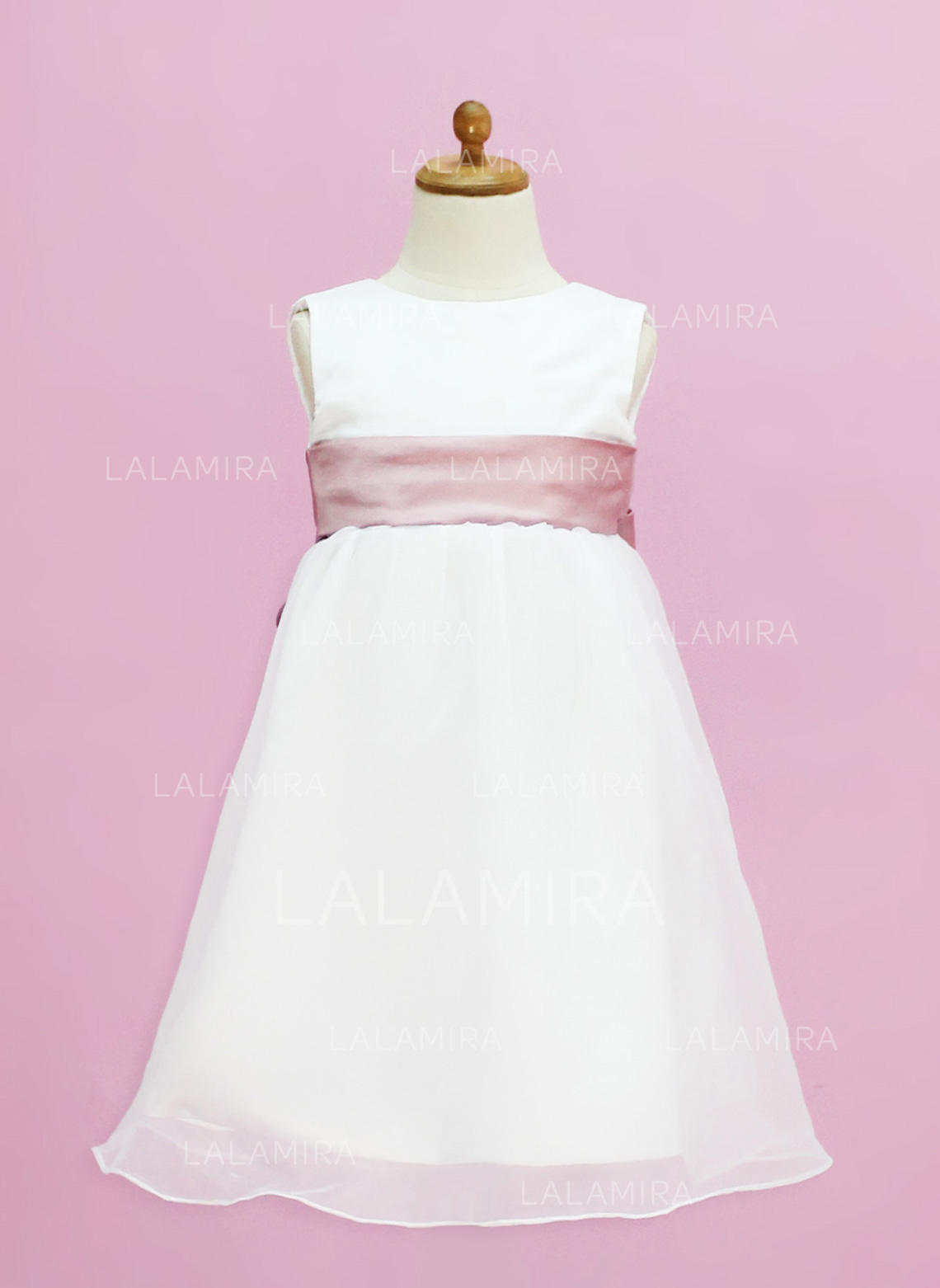 Empire Scoop Neck Floor Length With Sash Organzasatin Flower Girl