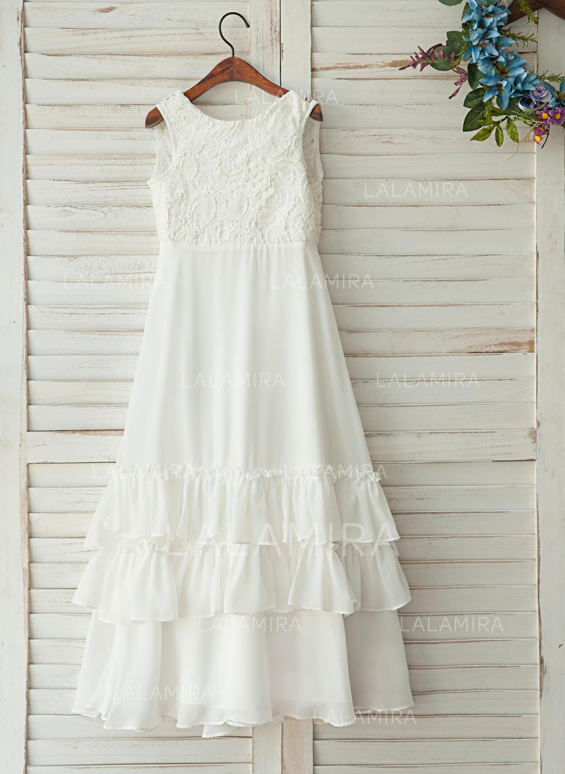 b3ece74c9e8 A-Line Princess Floor-length Flower Girl Dress - Chiffon Satin . Loading  zoom
