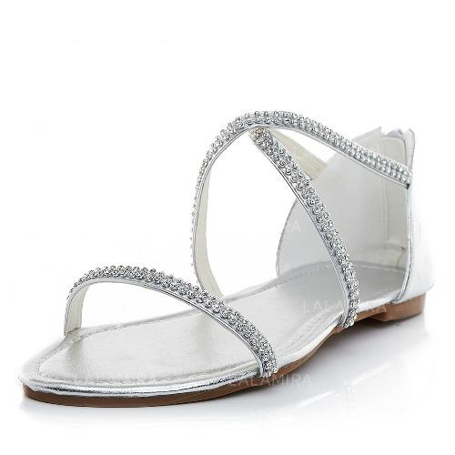 2abc2b22093f4 Women s Flats Sandals Flat Heel Leatherette With Rhinestone Wedding Shoes  (047204550). Loading zoom