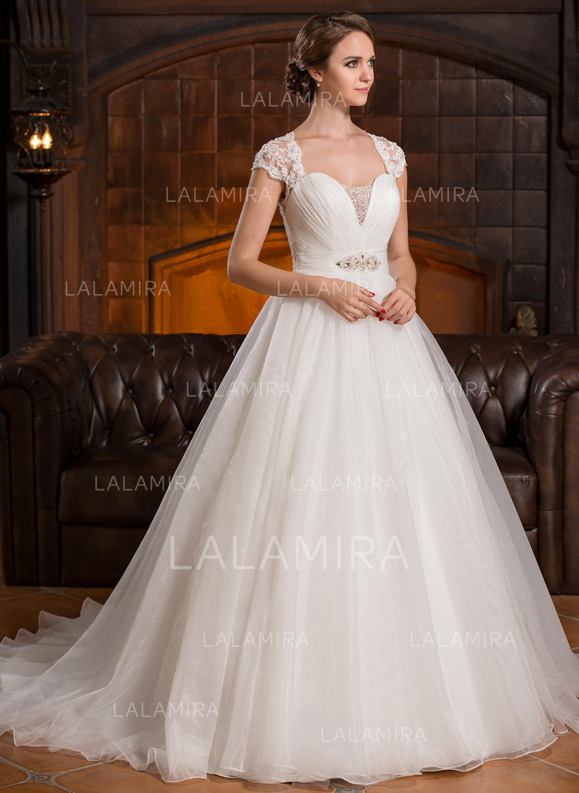 Sweetheart Ball Gown Wedding Dresses Organza Lace Ruffle Beading