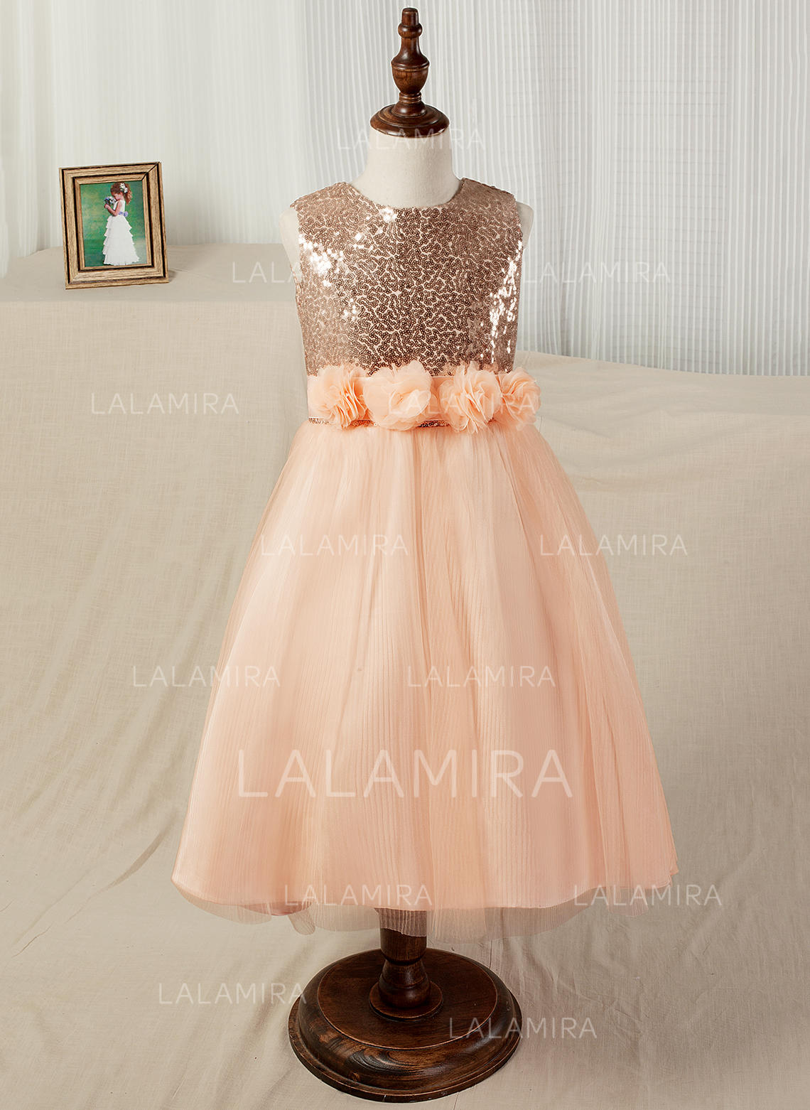ea66ab9c8f A-Line Princess Tea-length Flower Girl Dress - Tulle Sequined Sleeveless.  Loading zoom