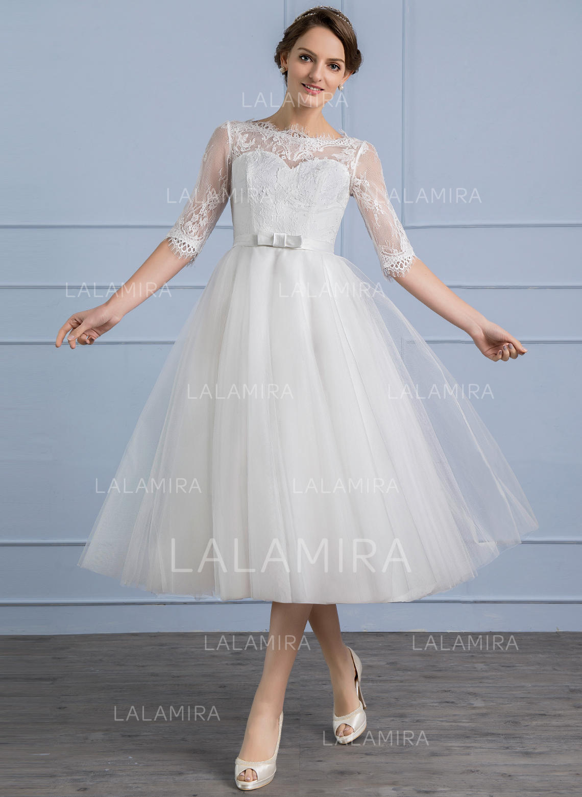 274fbd0c441 A-Line Princess Scoop Neck Tea-Length Tulle Lace Wedding Dress With Bow.  Loading zoom